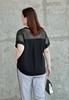 Picture of Lace Shoulder Short Sleeve Plus Size Blouse