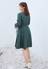 Picture of V Neck Long Sleeve Plus Size Dress With Belt