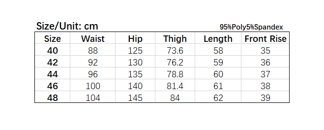 Size chart of high street hit color plus size men shorts.