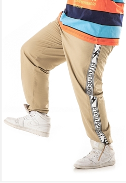 Plus size men's cotton pants with side ribbon.
