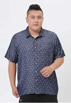 Plus size men's shirt with a white star print in blue color base. This shirt have short-sleeved and  classic collar.