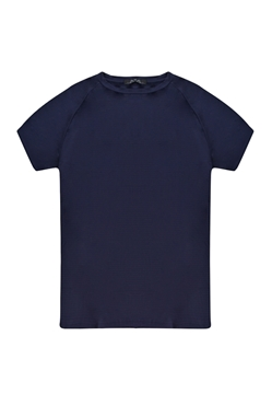 Front view of navy blue color plus-size men's t-shirt in a dry fit .