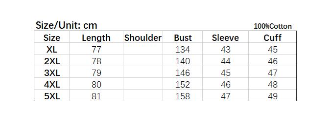 Size chart of plus-size men's dry fit t-shirt.