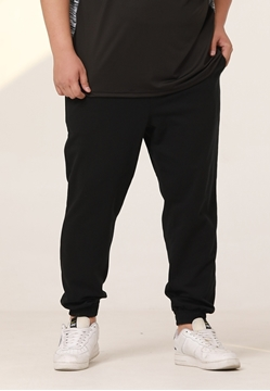 Plus size men's track pants available in black color.
